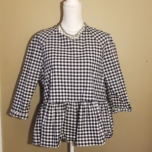 Black and White checkered Victoria Beckham blouse